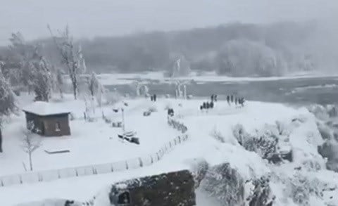 Niagara Falls partially freezes in record-breaking cold