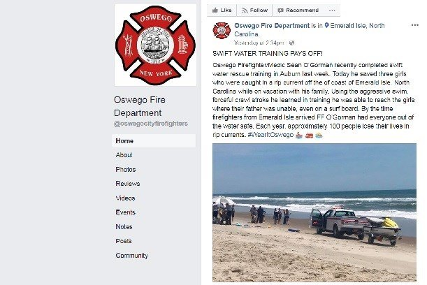 Oswego firefighter saves lives while on vacation in North Carolina